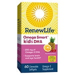 ReNew Life Omega Smart Kids DHA, Chewable Softgels, Fruit Punch- 60 ea