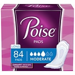 Poise Pads, Moderate Absorbency, Long Length- 84 ea