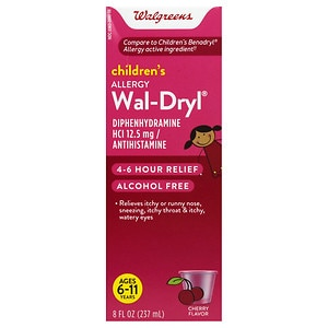 Walgreens Wal-Dryl Children's Allergy, Liquid, Cherry- 8 fl oz