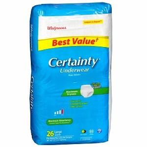 Walgreens Certainty Unisex Large Underwear Maximum Absorbency, 26 ea