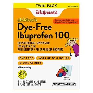 Walgreens Ibuprofen 100Mg Child Dye Free Berry Suspension 2 Pack, 4 fl oz