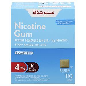 Walgreens Nicotine Gum, 4 mg, Original, 110 ea