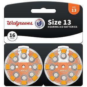 Walgreens Hearing Aid Batteries, Zero Mercury, #13, 16 ea