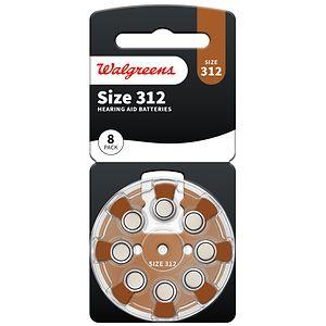 Walgreens Hearing Aid Batteries, Zero Mercury, #312, 8 ea