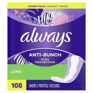 Always Xtra Protection Daily Liners, Long, Unscented, 2pk