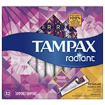 Tampax Tampons with Radiant Plastic Applicators, Unscented, Regular, 32 ea