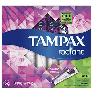 Tampax Tampons with Radiant Plastic Applicators, Unscented, Super, 32 ea