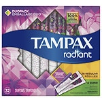 Tampax Tampons with Radiant Plastic Applicators, Unscented, Duo