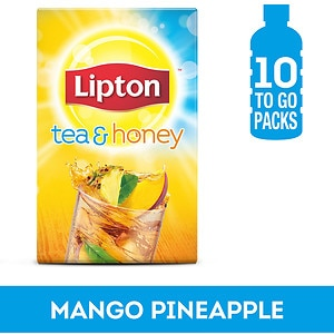 Lipton Tea & Honey Iced Green Tea To-Go Packets,, Mango Pineapple Iced Green Tea, 10 ct- 1 oz