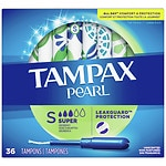 Tampax Pearl Tampons with Pearl Plastic Applicators, Unscented, Super, 36 ea- 1 ea