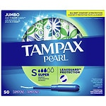 Tampax Pearl Tampons with Pearl Plastic Applicators, Unscented, Super, 50 ea