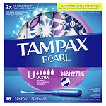 Tampax Pearl Plastic Applicator Tampons, Unscented, Ultra- 18 ea