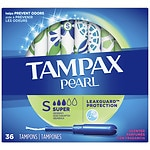 Tampax Pearl Plastic Applicator Tampons, Fresh Scent, Super- 36 ea
