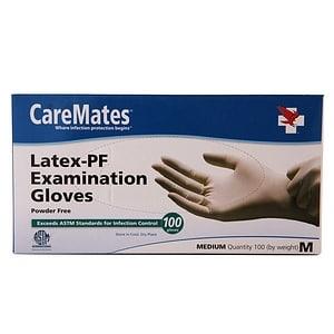 CareMates Latex-Powder Free Examination Gloves, Medium- 100 ea