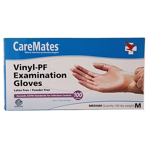 CareMates Vinyl-Powder Free Examination Gloves, Medium&nbsp;