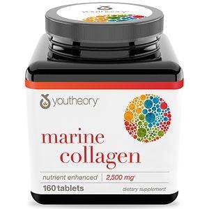 Youtheory Marine Collagen Enhanced Formula Tablets- 160 ea