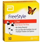FreeStyle Lite Blood Glucose Test Strips- 50 ea