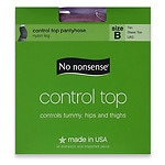 No Nonsense Control Top Sheer Toe Pantyhose Size B