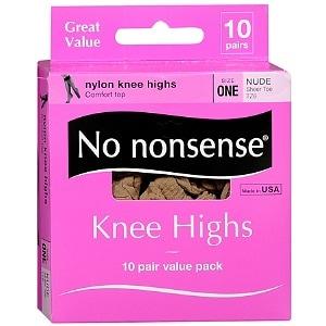 No Nonsense Comfort Top Sheer Toe Knee Highs, Size 1, Nude- 10 pr