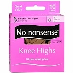No Nonsense Comfort Top Sheer Toe Knee Highs, Size Q, Tan