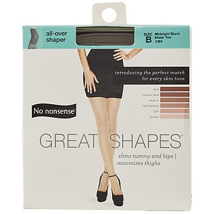 No Nonsense Great Shapes All-Over Shaper Sheer Toe Body Shaping Pantyhose, Size B, Black, 1 pr