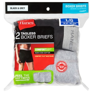 Hanes Men's Boxer Briefs, Large, 2 ea