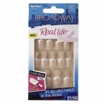 Broadway Nails Real Life Glue-On Nail Kit, Peach, Real Short Length- 1 set