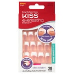 Kiss Everlasting French Nails Kit, Medium Length Square, White Tip- 28 ea
