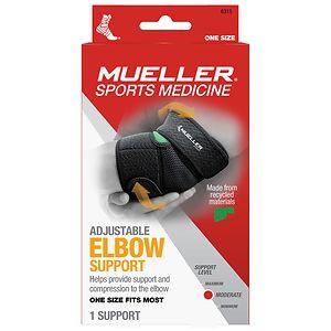 Mueller Sport Care Adjustable Elbow Support, Black, One Size- 1 ea