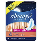 Always Ultra Thin Pads with Wings, Overnight- 38 ea