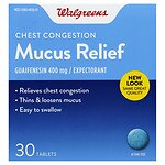 Walgreens Mucus Relief Chest Congestion Immediate-Release Tablets- 30 ea