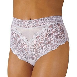 Wearever Women's Lovely Lace Trim Panty, Large, White