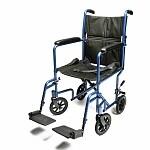 Everest & Jennings Aluminum Transport Chair, Blue, 17 Inch