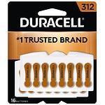 Duracell Hearing Aid Batteries, 312- 16 ea