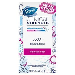 Secret Clinical Strength Mean Stinks Advanced Solid Antiperspirant & Deodorant, Fearlessly Fresh- 1.6 oz