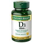 Nature's Bounty D-1000 IU Dietary Supplement Rapid Release Liquid Softgels- 350 ea