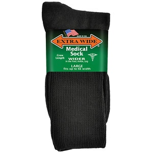 Extra Wide Medical Socks Mens, Shoe Sizes 11-16 Up To 6E, Black