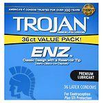 Trojan-Enz Premium Lubricant Latex Condoms- 36 ea