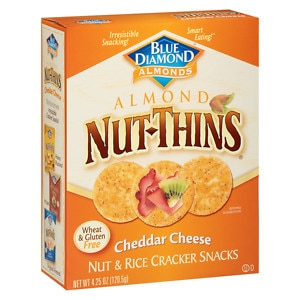 Blue Diamond Nut-Thins Nut & Rice Cracker Snacks, Cheddar Cheese