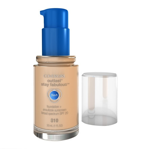 CoverGirl Outlast Outlast Stay Fabulous 3-in-1 Foundation + Broad Spectrum SPF 20, Classic Ivory 810 - 1 fl oz