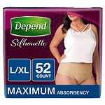 Depend Silhouette For Women, Maximum Absorbency, L/XL - 52 Pack