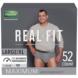 Depend Real Fit Briefs for Men Maximum Absorbency, L/XL, 52 ea