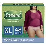 Depend Incontinence Underwear for Women, Maximum Absorbency, Soft Peach, Extra Large- 48 ea