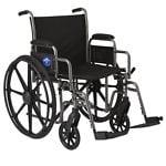 Medline Steel Wheelchair with Swingaway Footrests 20in Seat- 1 ea