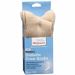Walgreens Diabetic Crew Socks for Women, Khaki, Sizes 6-10