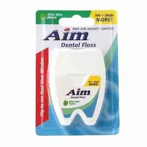Aim Dental Floss, Waxed Nylon + Bonus 20 yds- 120 yd