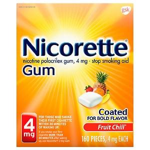 Nicorette Nicotine Gum, 4 mg, Fruit Chill