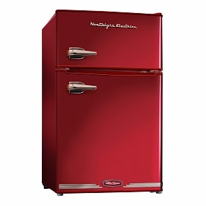 Nostalgia Electrics RRF325HNRED Retro Series 3.1-Cubic Foot Compact Refrigerator Freezer, Red- 1 ea
