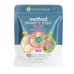 method Smarty Dish Plus Dishwasher Detergent Tabs, 45 Loads, Fragrance Free