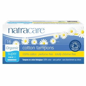 Natracare Organic All-Cotton Tampons with Applicator, Super